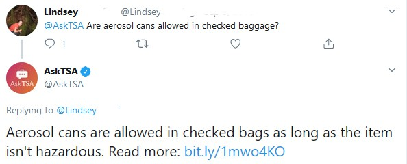 Will aerosol cans explode in checked luggage on a plane? 1