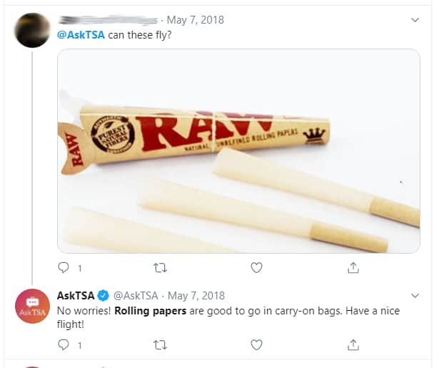 TSA response to can you fly with rolling papers