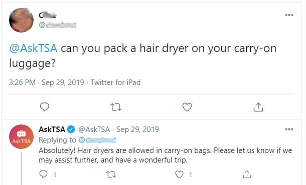 TSA hair dryer rules