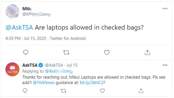 Are laptops allowed in checked baggage?
