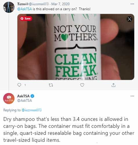 Does dry shampoo have to go in liquids bag?