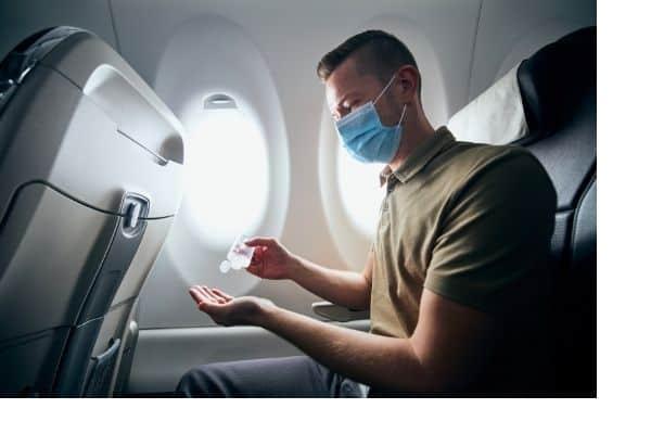 hand sanitizer on a plane