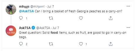TSA can you bring peaches in carry on