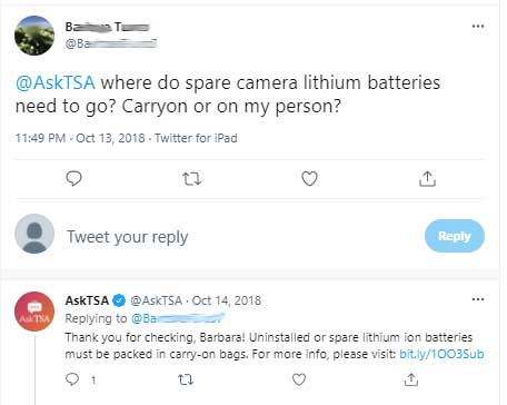 What lithium batteries can you take in carry on baggage