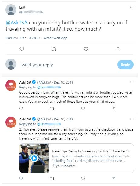 Taking water on a plane for a baby