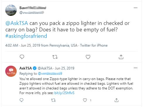 Can you bring a zippo on a plane?