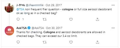 Can you take cologne on a plane in checked luggage